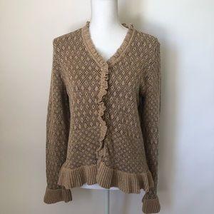 J Jill ruffle sweater button cardigan medium